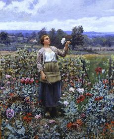 Galerii de arta: Picturi cu fete care culeg flori.Picking Flowers in Paintings