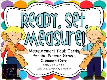 Ready, Set, Measure!  Measurement Task Cards for the Second Grade Common Core - This measurement task card pack was designed to address second grade Common Core Standards 2.MD.A.1, 2.MD.A.2, 2.MD.A.3, 2.MD.A.4, and 2.MD.B.5. A total of ten sets of task cards are included. Perfect for scoot games and math centers! $