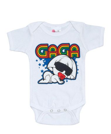 Take a look at this White Baby Gaga Bodysuit - Infant by Lollipop Moon on #zulily today!