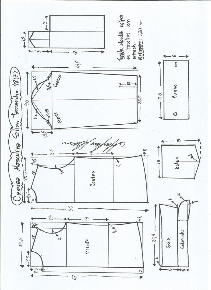 Esquema de modelagem de camisa slim tamanho 48.