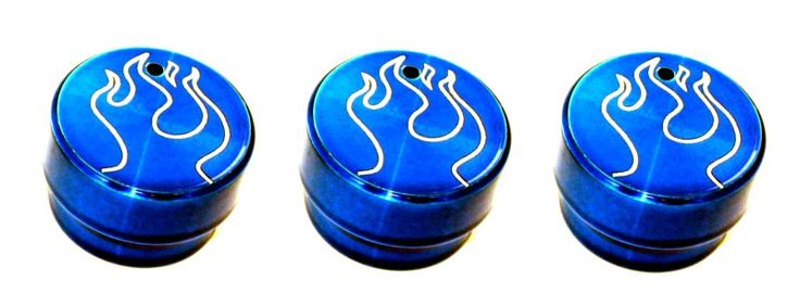 All Sales Interior Dash Knobs (set of 3) - Flame Blue - Cap off your truck's interior in style with our huge collection of heater/ac knobs, radio dials, levers and locks. Quick and easy to install…just pull off and push on!Fits: Chevy/GMC 99-02 Silverado,