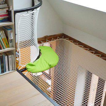 Indoor Trampoline, Wohnnetze auf Zwischengeschosse und Hängematte. Schlaue Lösungen um Ihren Wohnbereich neu zu besetzen ! Willkommen zu Hause !
