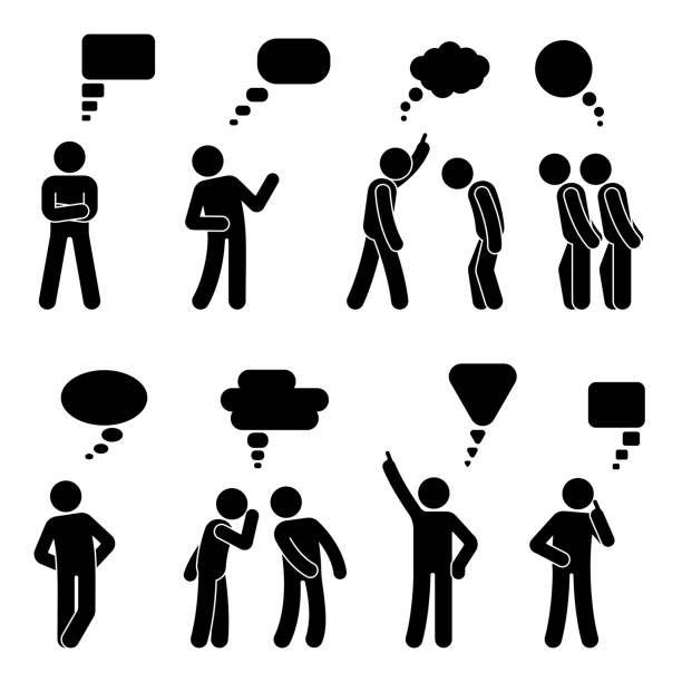Stick Figure Dialog Speech Bubbles Set Talking Thinking Whispering Stick Figure Drawing Pictogram Vector Art Illustration