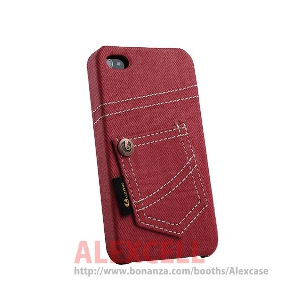 Denim Jeans case for Iphone 4/4s Red Jeans (get 1 plastic case free)