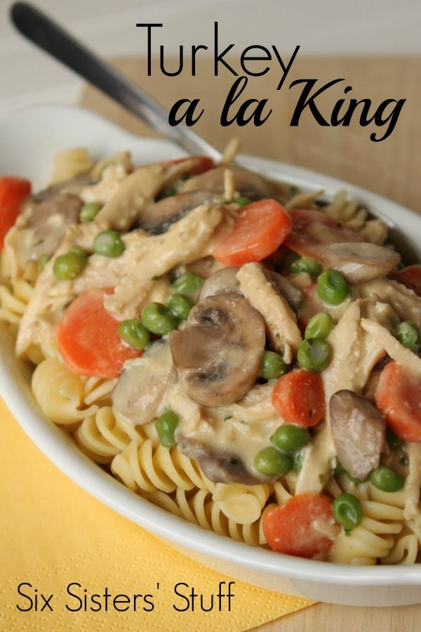 Six Sisters Turkey a la King is  creamy turkey dinner that is quick and easy! Loaded with veggies! You can also use chicken in place of the turkey.
