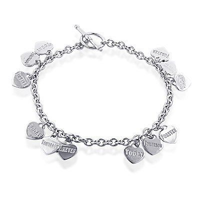 """Sterling Silver Today, Tomorrow, Forever Charm Bracelet Netaya. $59.95. Sterling Silver. """"Today"""" """"Tomorrow"""" """"Forever"""". Charm Bracelet"""
