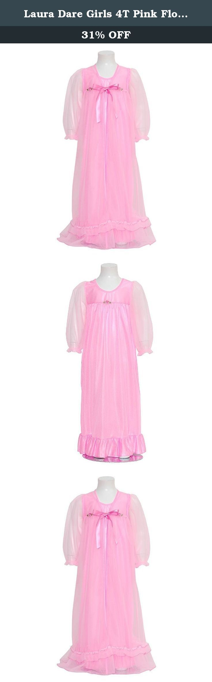 Laura Dare Girls 4T Pink Floral Peignoir 2pc Robe Nightgown. An adorable Peignoir set for your little girl from Laura Dare. She'll feel so grown up in this 2pc sheer frilly set. The sheer robe is trimmed in ruffles and ties with a soft ribbon at the neck. Soft ribbon flowers ar attached along the neckline. Completing this set is a shimmery nightgown with spaghetti straps. Great for her first sleepover or any special girls time.