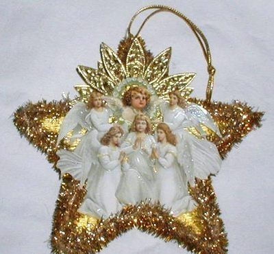 Christmas Dresden Star Santa Angel Ornament