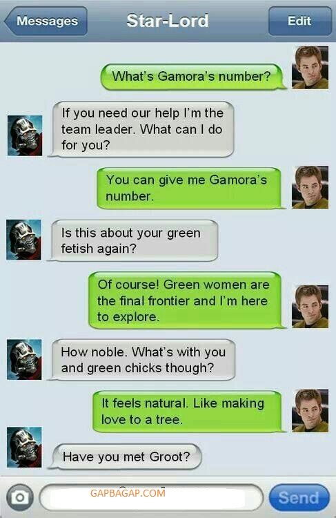 Funny Text About Star-Lord vs Gamora