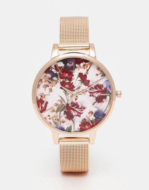 ASOS | ASOS Rose Gold Floral Printed Dial Mesh Strap Watch