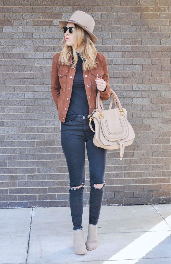 Distressed denim and a great hat are two key pieces for a casual cool outfit.