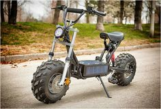 THE BEAST | ELECTRIC OFF-ROAD SCOOTER Fully electric, the Beast includes a solar panel and an enclosed battery pack that recharges continuously, and is capable of reaching speeds of 32km/h (20mph) with up to 40 km range.