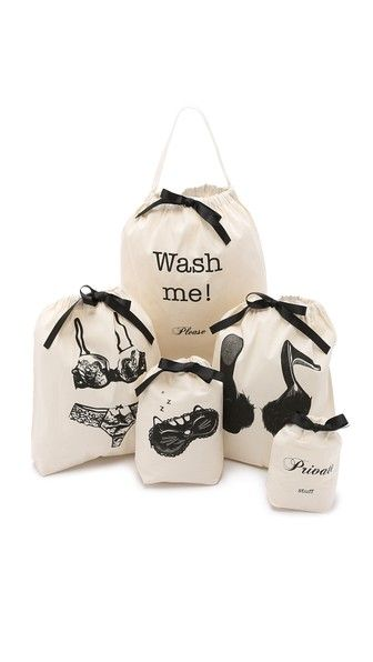 A set of 4 drawstring Bag-all pouches and a drawstring laundry tote keep luggage organized for a weekend trip.  The illustrations add a fun, cute touch! Great for a stocking stuffer or holiday gift for the traveler in the family.