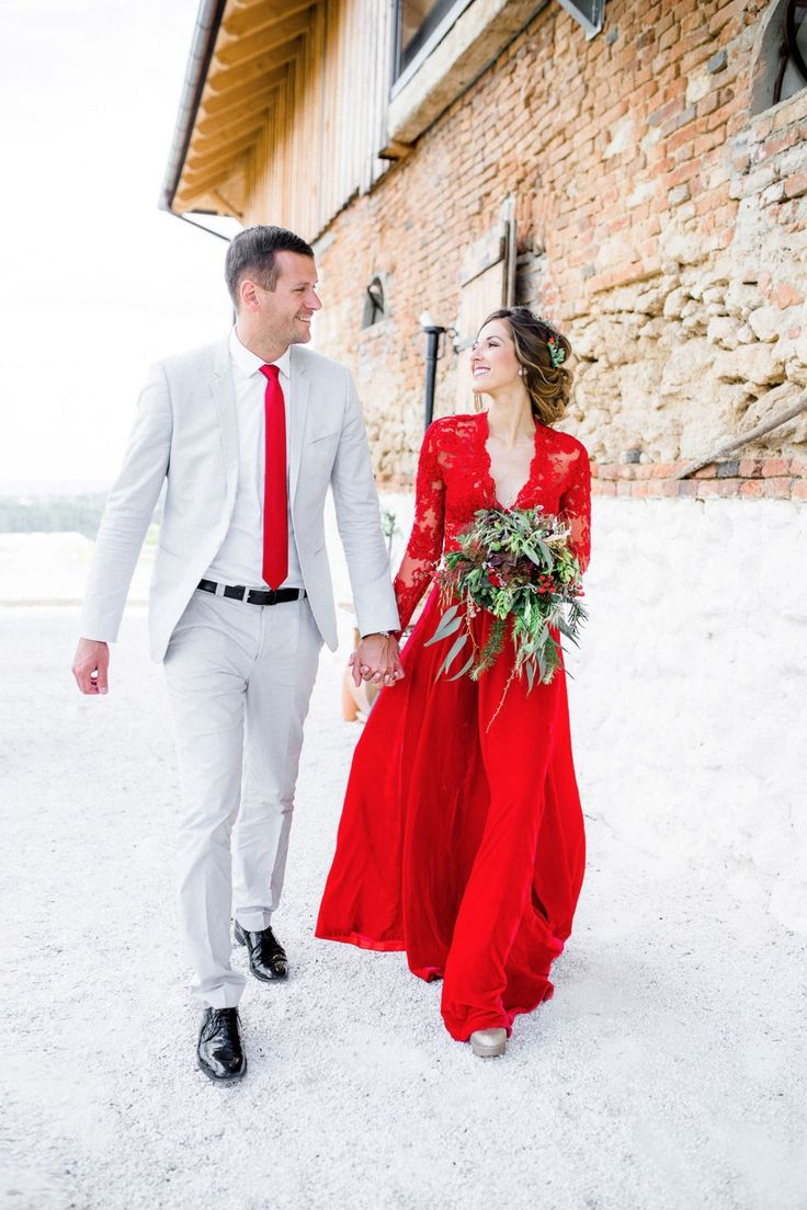 Red and white christmas wedding dresses