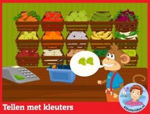 Boodschappen tellen met kleuters  op digibord of computer  op kleuteridee.nl, Kindergarten educative game for IBW or computer