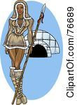 Royalty Free RF Clipart Illustration Of A Pinup Eskimo Woman Standing By An Igloo