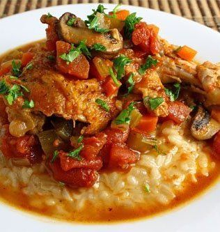 Recipe for Slow Cooker Chicken Cacciatore I would say it needs tomato paste to thicken it a bit. Otherwise yum!