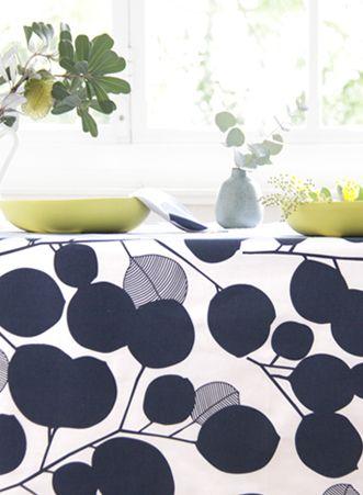 6 Seater Tablecloth - Eucalyptus design in Mood Indigo