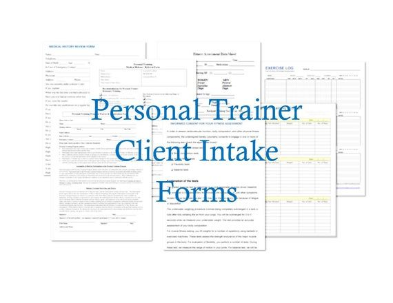 Printable Personal Trainer Client Intake Forms Personal Trainer Personal Fitness Trainer Exercise Form