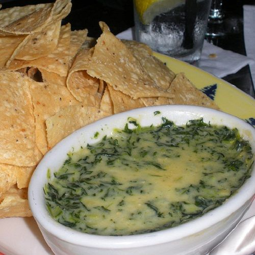 Houston's Spinach and Artichoke Dip Restaurant Recipe Appetizers with fresh spinach, butter, garlic, minced onion, flour, heavy cream, lemon juice, Tabasco Pepper Sauce, salt, grated parmesan cheese, sour cream, jack cheese, artichoke hearts