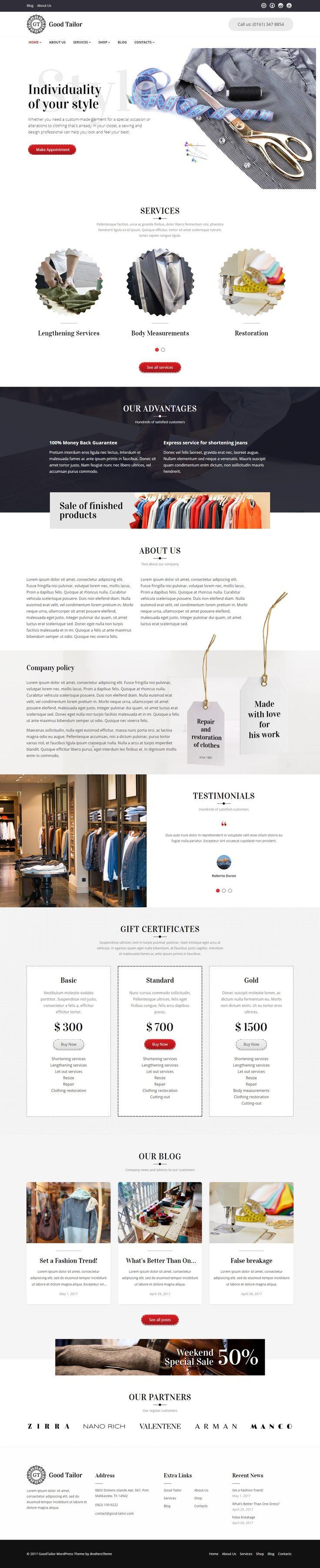 Responsive wordpress theme for tailoring service