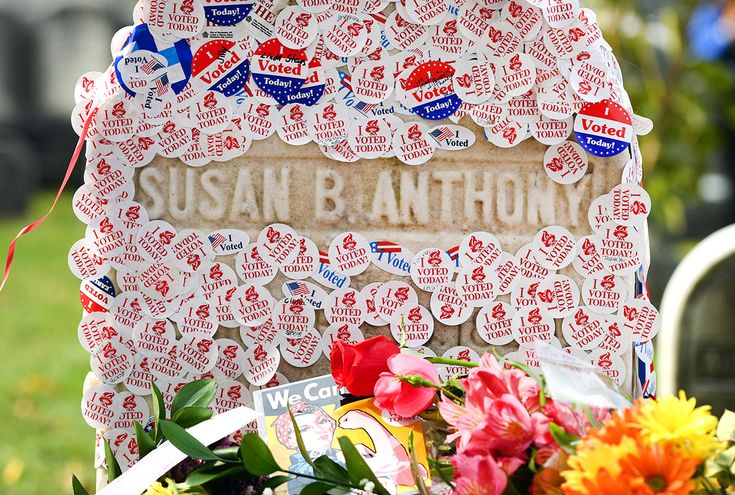 "The grave of women's suffrage leader Susan B. Anthony is covered with ""I Voted"" stickers left by voters in the U.S. presidential election, at Mount Hope Cemetery in Rochester, New York."
