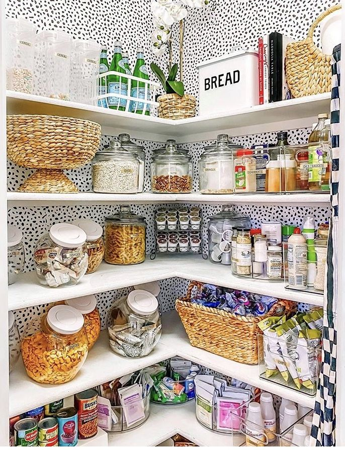 Pin By Katie Banks On Home Couture Pantry Inspiration Pantry Wallpaper Kitchen Pantry Wallpaper
