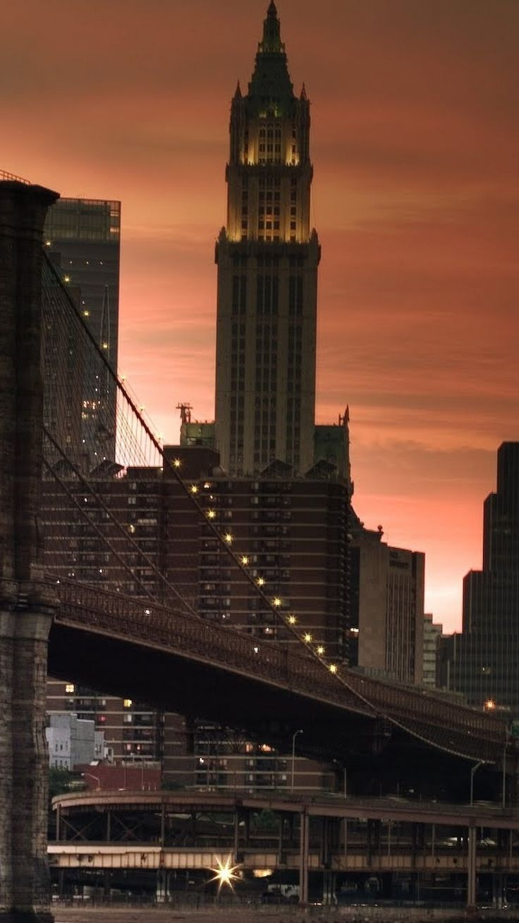 New York Bridge Sunset Lights Skyscrapers New York City Pinterest Skyscrapers Bridge