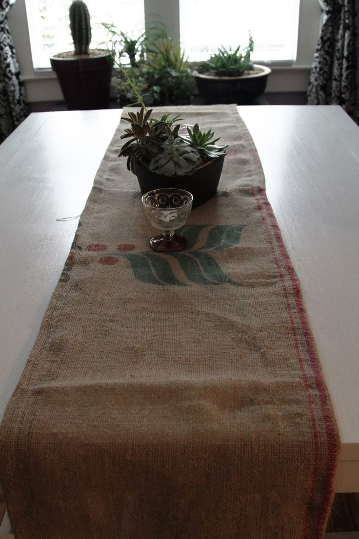 Coffee bag table runner. I have a bunch coffee bags...what to do with them. BIG ones too.