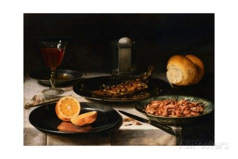 A Herring with Capers and a Sliced Orange on Pewter Plates/Clara Peeters