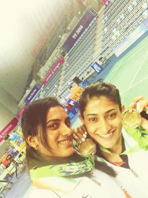 Ashwini Ponnappa and PV Sindhu at Asian games 2014
