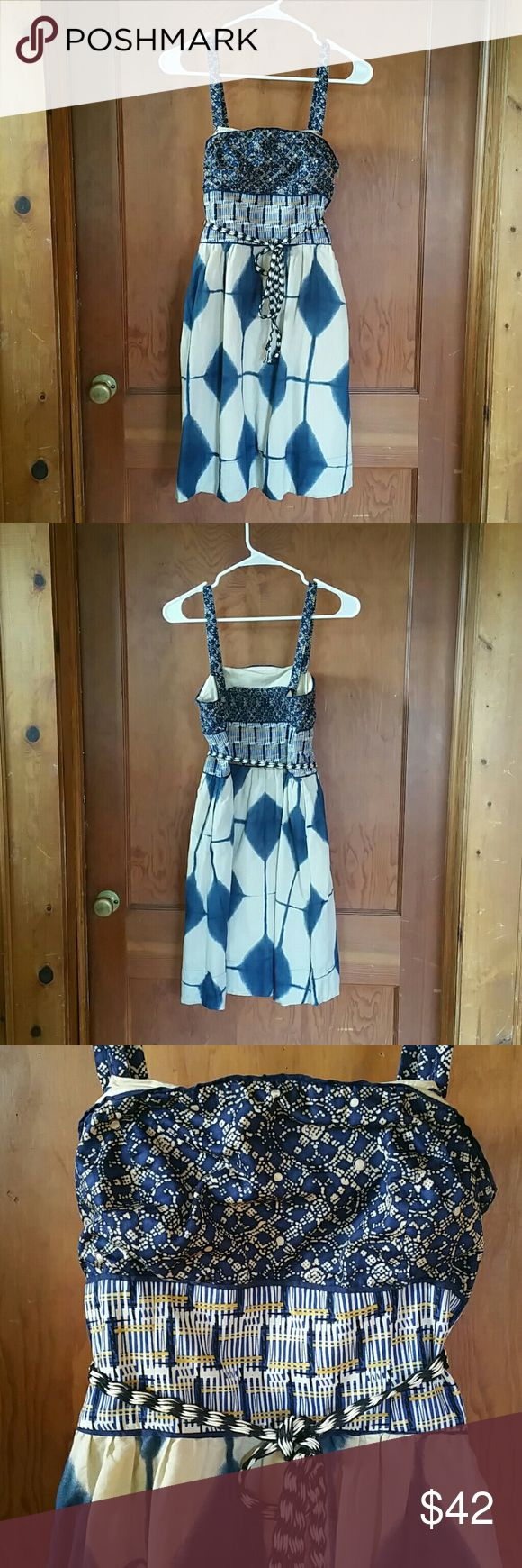 """Anthropologie Maeve Dress Size 2 Tan, blue and yellow dress with hidden side pockets, hidden side zipper, removable straps and smocked back. Great condition but has two super small stains on the right side by the pocket. Super hard to see unless super close. Bust 15"""", waist 13.5"""" and length 28"""" from shoulder to bottom.   NO TRADES.  NO PAYPAL. Anthropologie Dresses"""
