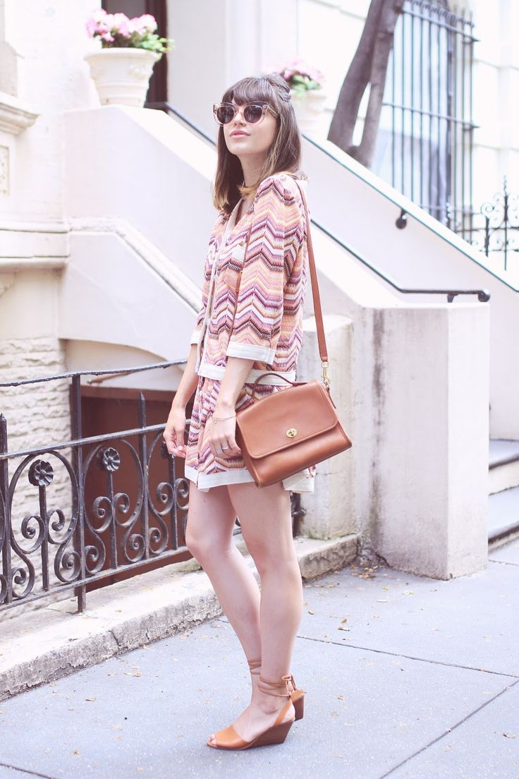 Emilee Anne wearing Storets Cardigan // Storets Skirt // Gap Heels // Coach Purse // Celine Sunglasses