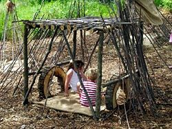 "How to make natural play spaces--use woven willow/wisteria ""tunnels"" as entrance to"