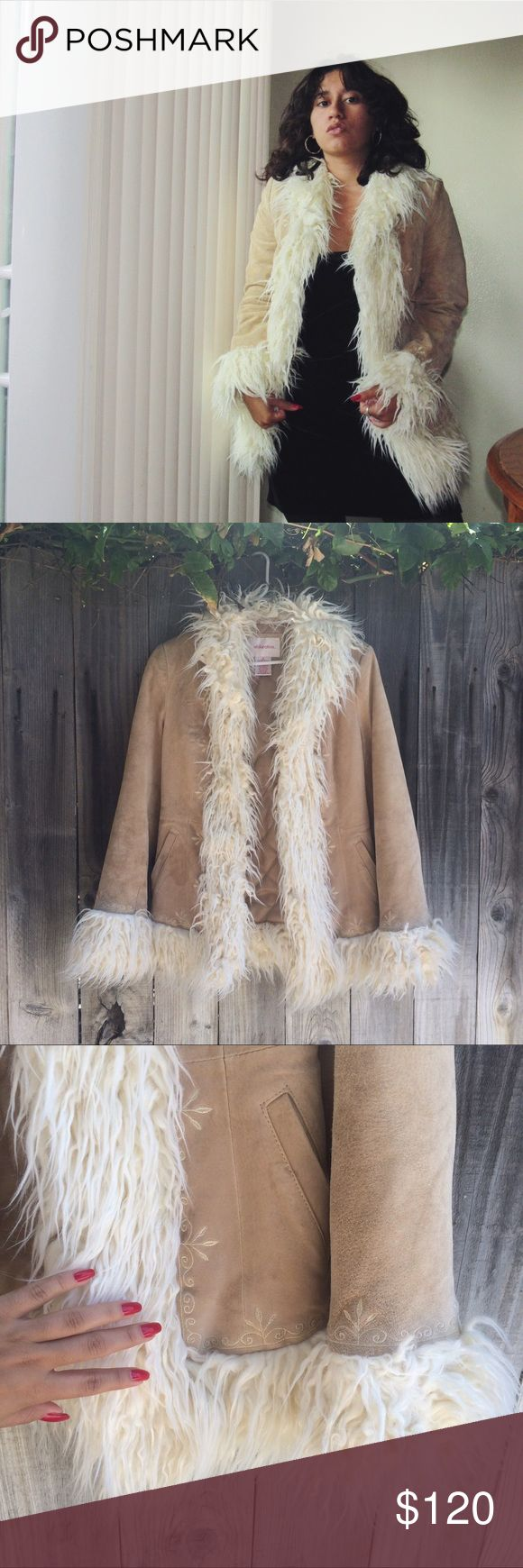 Penny Lane Suede Faux Fur Coat This amazing penny lane coat is made for all you almost famous gals, made out of faux fur trim and genuine leather lining, perfect for dancing around ur living room or going out, label says small but could also fit a medium CHEAPER IF BOUGHT ON DEPOP #penny lane #shearling #coat #jacket #almost famous #70s #vintage #suede #faux fur Vintage Jackets & Coats