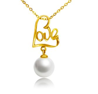 Dazzle her with a beautiful  gold pearl love pendant length of chain ....18 inchres  Free Shipping