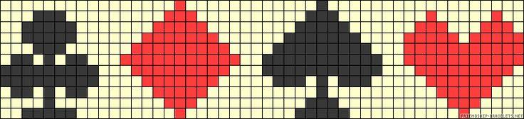 clubs   diamonds   spades   hearts  friendship bracelet pattern (for quadrants)