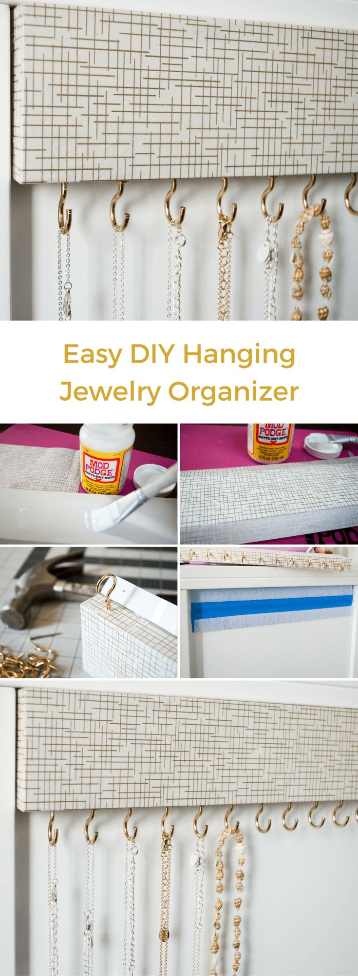 DIY Jewelry organizer for tangle-free necklaces. Cover wood with decorative paper, screw in cup hooks and mount. See how to make your own for less than $10! [ Jewelry Organizer - Necklace Holder - Jewelry Holder Wall - Wood Jewelry Hanger - Necklace Stora