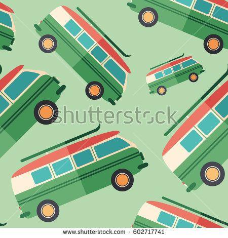 Tourist minivan flat icon seamless pattern. #retro #retropattern #vectorpattern #patterndesign #seamlesspattern