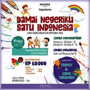 #Lomba #Menggambar #Mewarnai #Innside #Yogyakarta Lomba Mewarnai & Menggambar 2017 Damai Negeriku Satu Indonesia  ACARA: 13 Agustus 2017  http://infosayembara.com/info-lomba.php?judul=lomba-mewarnai-menggambar-2017-damai-negeriku-satu-indonesia