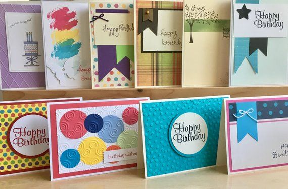 10 Handmade Birthday Card Set Blank Assortment Happy Greeting Cards