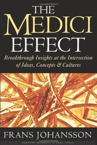 The Medici Effect: Breakthrough Insights at the Intersection of Ideas, Concepts, and Cultures by Frans Johansson published by Harvard Business Review Press (2004) Hardcover by Frans Johansson http://www.amazon.co.uk/dp/B00ES28YFO/ref=cm_sw_r_pi_dp_i8KWub19KQYG8