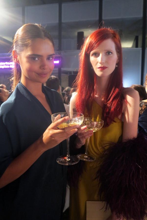 Models Samantha Harris and Alice Burdeu enjoying the Piper-Heidsieck champagne.