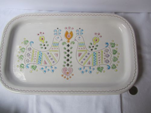 Vintage Scicillian Sardinian Ceramic Platter Dish Retro Folk Art Tableware