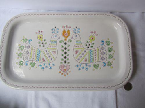 Vintage Scicillian Sardinian Ceramic Platter Dish Retro Folk Art Tableware