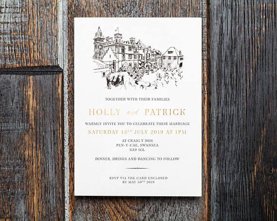 Craig Y Nos Wedding Invitation Custom Wedding Venue Custom Wedding Invitations Wedding Invitations Invitations