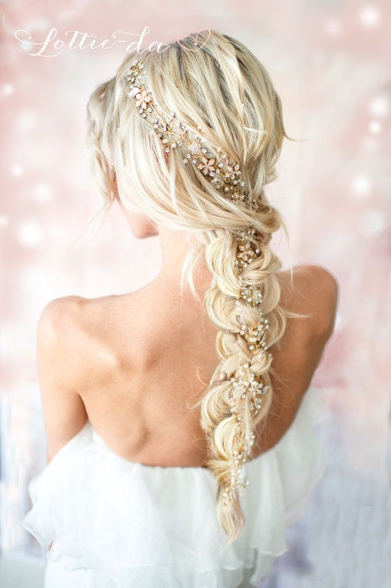 Gold Boho Extra langes Haar Rebe Hochzeit Kopfschmuck Braut