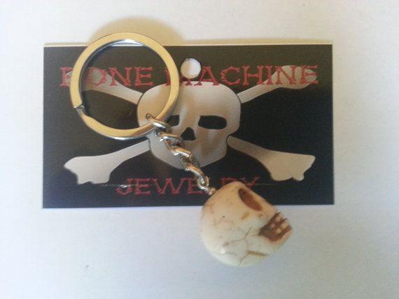 White Howlite Skull Key Chain by BoneMachineJewelry on Etsy, $6.00