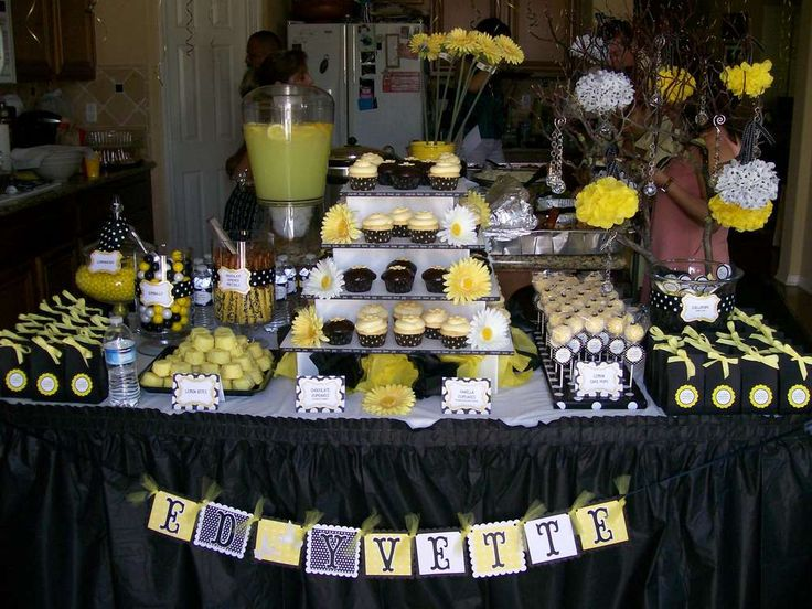 yellow & black w/white polka dots Bridal/Wedding Shower Party Ideas | Photo 1 of 20