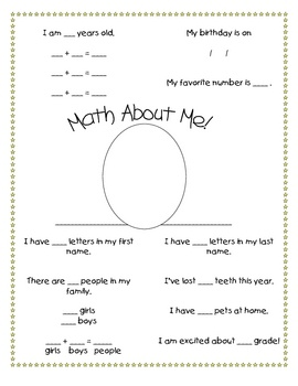All About Me Math Classroom Ideas Pinterest All About Me Maths